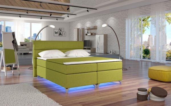 Boxspringbett Schlafzimmerbett NEAPEL Microfaser Lindengrün 160x200cm