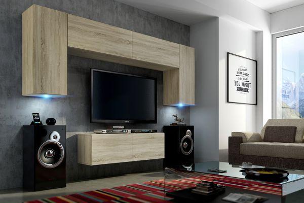 Mediawand Wohnwand 6 tlg - Konzept 2 - Sonoma Eiche matt