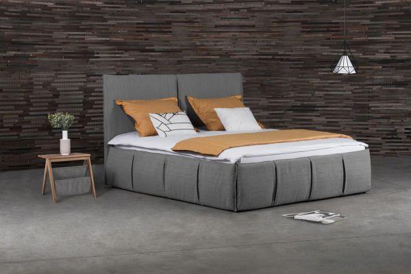 Polsterbett Doppelbett AGIS Stoff Grau 160x200cm