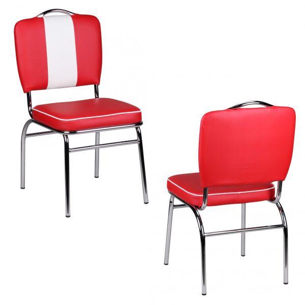 Esszimmerstuhl American Dream 50er Jahre Retro Rot Weiß