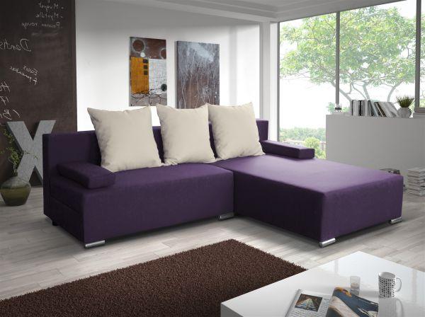Ecksofa Sofa LUCY mit Schlaffunktion Violett / Beige Ottomane Rechts