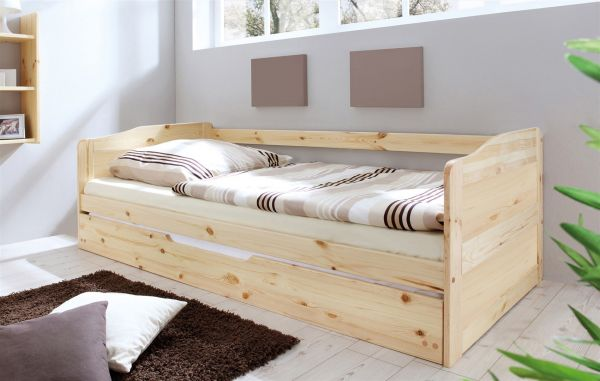 Funktionsbett Tagesbett Sofabett MELY Kiefer Natur 90x200 cm