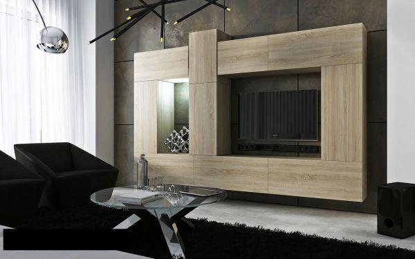 Mediawand Wohnwand 10 tlg - Konzept 22 - Sonoma Eiche matt