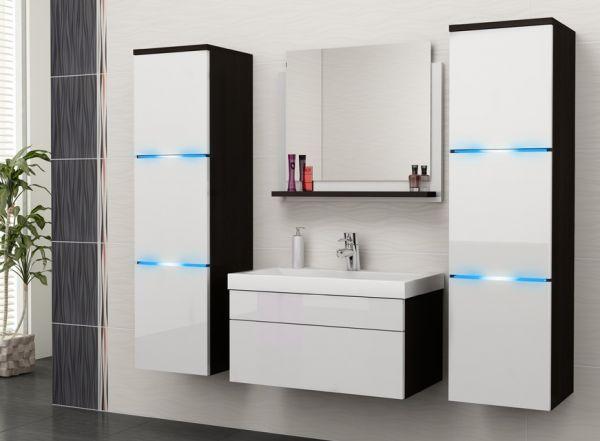 Badmöbel Set 5-Tlg Weiss Hochglanz -Dream- inkl.Waschtisch inkl.LED