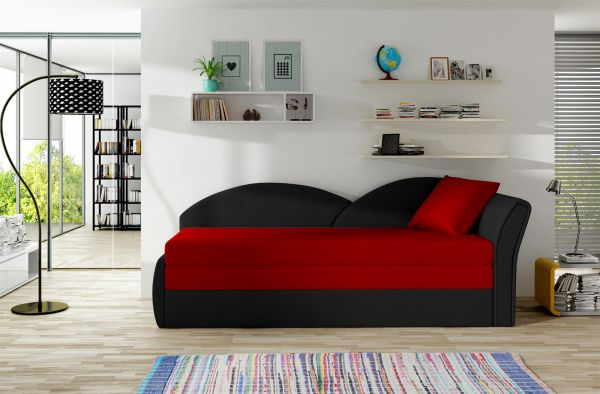 Sofa Schlafsofa inklusive Bettkasten ALINA / R- Schwarz / Rot