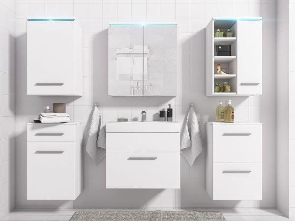 Badmöbel Set 7-Tlg Weiss matt MAXI inkl.Waschtisch inkl.LED