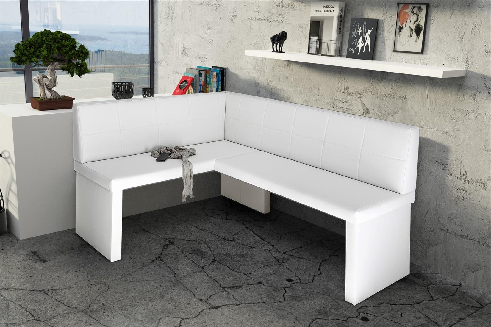 eckbank bank k chenbank 168 x 128 cm robin r kunstleder weiss fun m bel. Black Bedroom Furniture Sets. Home Design Ideas