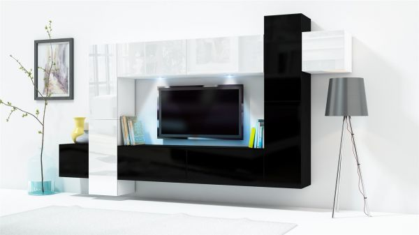 Mediawand Wohnwand 10 tlg KONZEPT 33 Schwarz/Weiss HGL mit LED-Beleuchtung