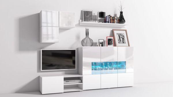 Mediawand Wohnwand 6 tlg - Konzept 30 - Weiss Hochglanz +LED