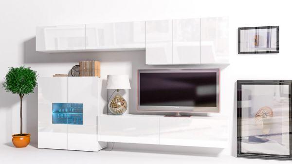 Mediawand Wohnwand 8 tlg - Konzept 16 - Weiss Hochglanz + LED