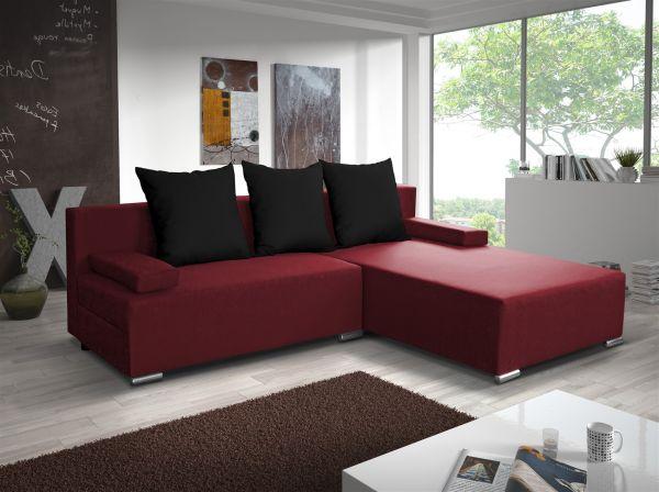 Ecksofa Sofa LUCY mit Schlaffunktion Rot / Schwarz Ottomane Rechts