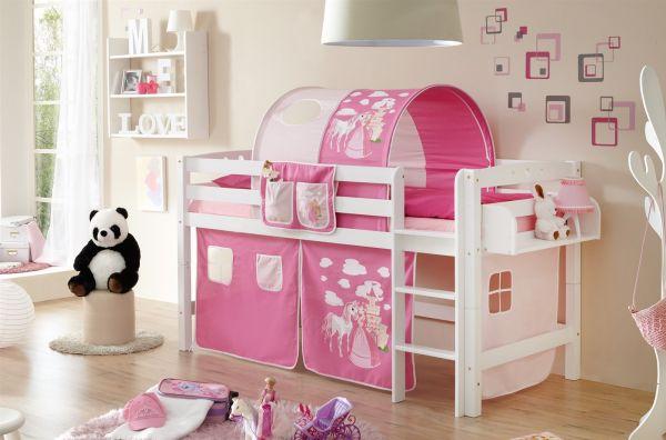 Etagenbett Prinzessin : Spielbett hochbett toby r buche weiss inkl.vorhang prinzessin pink