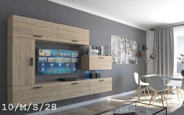 Mediawand Wohnwand 7 tlg - Bedox 3 -Sonoma matt inkl.LED
