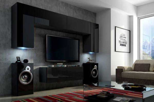 Mediawand Wohnwand 6 tlg - Konzept 2 - Schwarz HGL mit LED-Beleuchtung