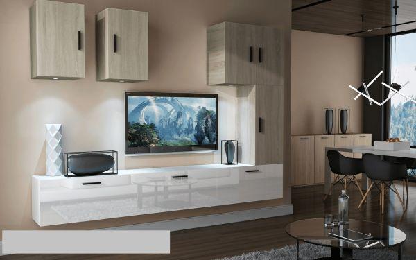 Mediawand Wohnwand 8 tlg - Bedox 4 - Weiss HGL- Sonoma matt Nr.2+LED