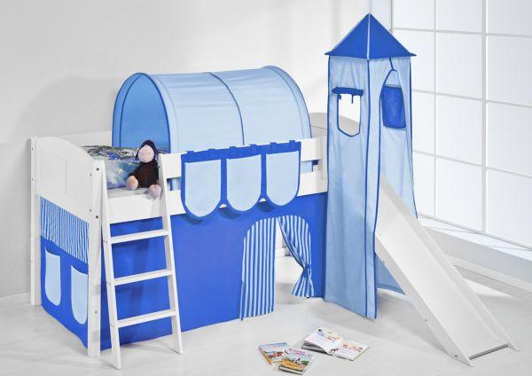 Spielbett mit Rutsche,Turm, Vorhang -LANDI/S -Blau Hellblau-Kiefer Weiss