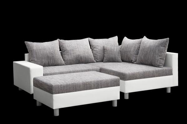 Couchgarnitur Allegra L-Form Weiß -Grau inkl.Hocker /Ausführung Rechts
