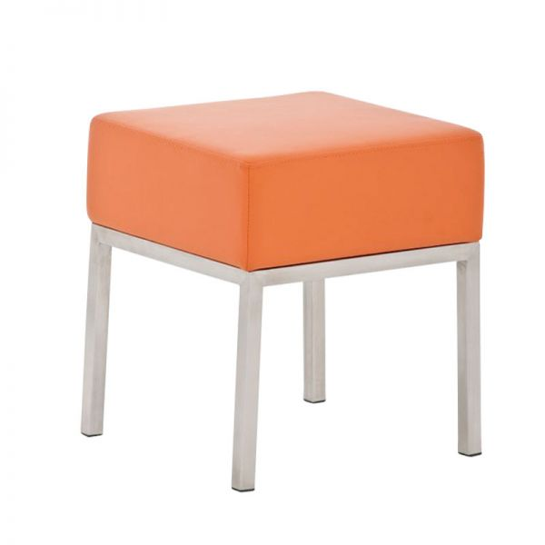 Sitzhocker - LONI 2 - Hocker Sessel Kunstleder Orange 40x40 cm