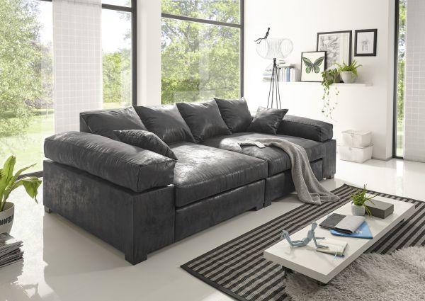 Big Sofa Couchgarnitur Megasofa Riesensofa Arezzo Vintage Schwarz