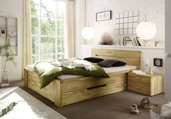 Massivholzbett Schlafzimmerbett - RONI - Bett Wildeiche 200x200 cm