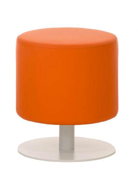Sitzhocker - Max - Hocker Rundhocker Kunstleder Orange 38x38 cm