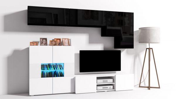mediawand wohnwand 6 tlg konzept 21 weiss schwarz hochglanz led fun m bel. Black Bedroom Furniture Sets. Home Design Ideas