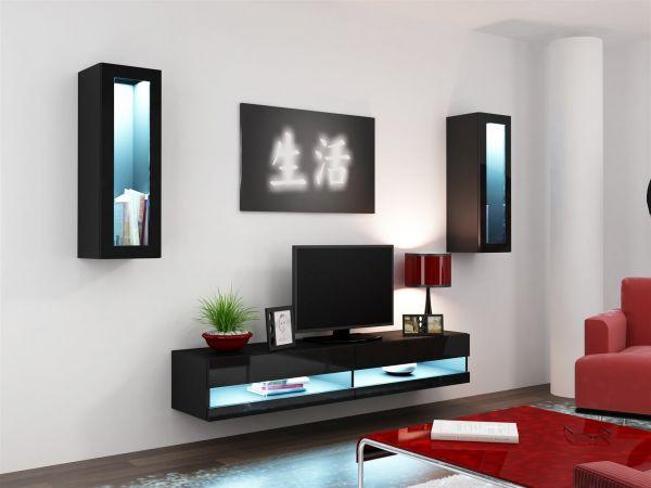 Mediawand Wohnwand 3 tlg - SENTIC 11 - Schwarz Hochglanz inkl.LED