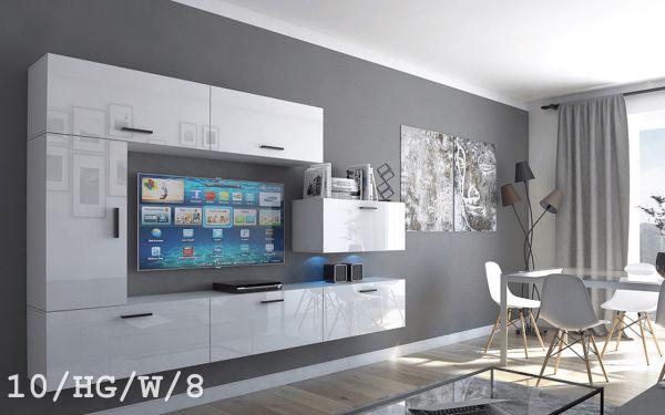 Mediawand Wohnwand 7 tlg - Bedox 3 - Weiss Hochglanz inkl. LED