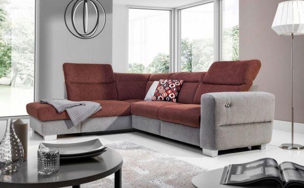 Ecksofa Sofa RELAX Polyesterstoff Grau/ Braun Ottomane Links