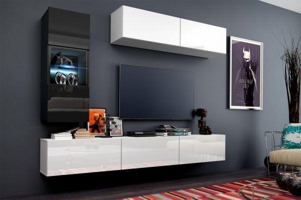 Mediawand Wohnwand 6 tlg - Konzept 12 - Weiss HGL mit LED-Beleuchtung