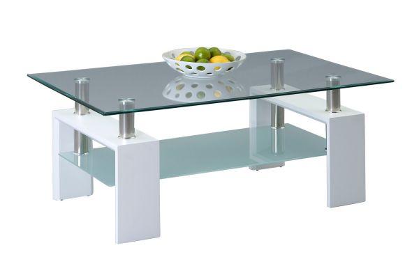 Couchtisch Beistelltisch - Xava - 110x70 cm Weiss / Glas
