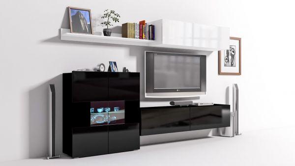 Mediawand Wohnwand 6 tlg - Konzept 10 - Schwarz / Weiss HGL + LED