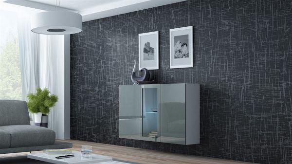 """Sideboard Hängesideboard """"LUGO"""" 120x38x90 cm Weiss/ Grau HGL mit LED"""