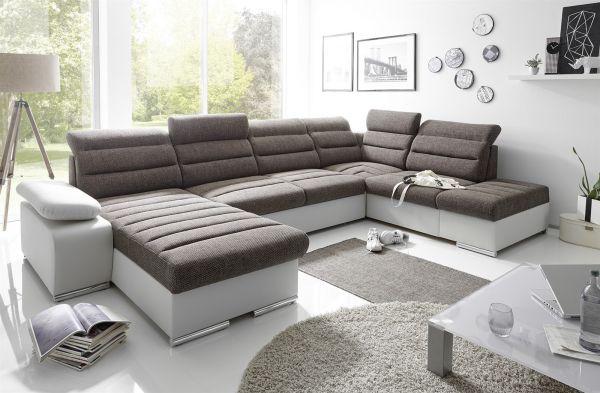 Couchgarnitur PASCARA U-Form mit Schlaffunktion-Grau /Ottomane Links
