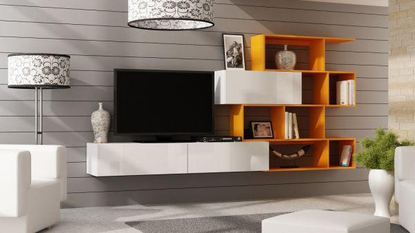 Mediawand Wohnwand 3 tlg - SKY - Weiss HGL / Orange