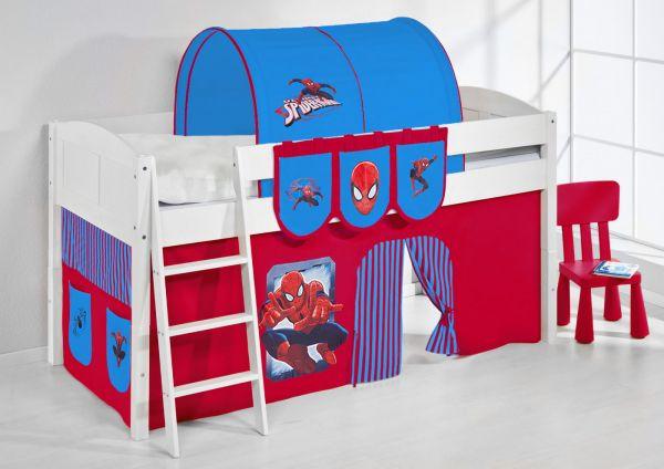 Spielbett Bett -LANDI - Spidermann -Teilbar - Kiefer Weis -mit Vorhang