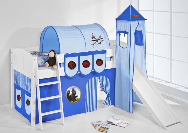 Spielbett mit Rutsche,Turm, Vorhang -LANDI/S -Dragons Blau-Kiefer Weiss