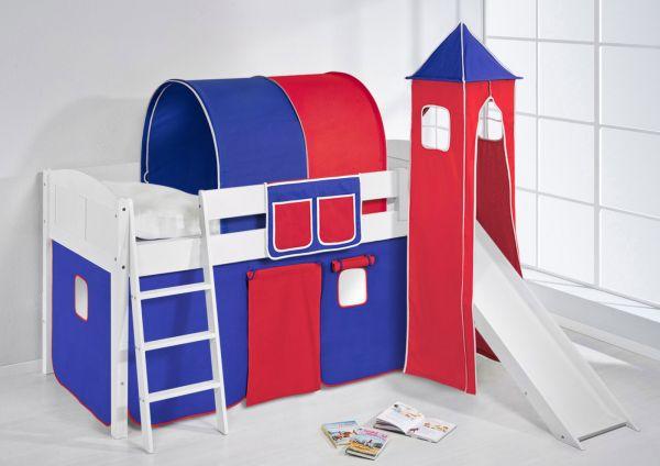 Spielbett mit Rutsche,Turm, Vorhang -LANDI/S - Blau Rot -Kiefer Weiss