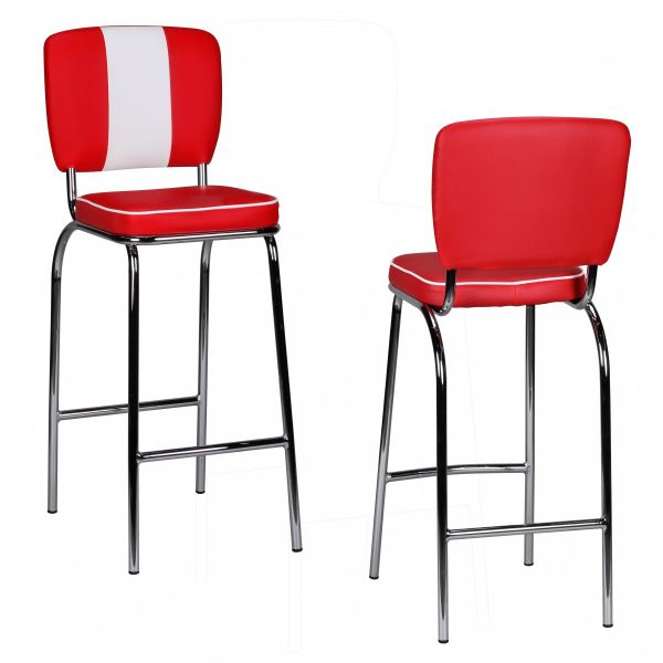 Barstuhl American Dream 50er Jahre Retro Rot Weiß