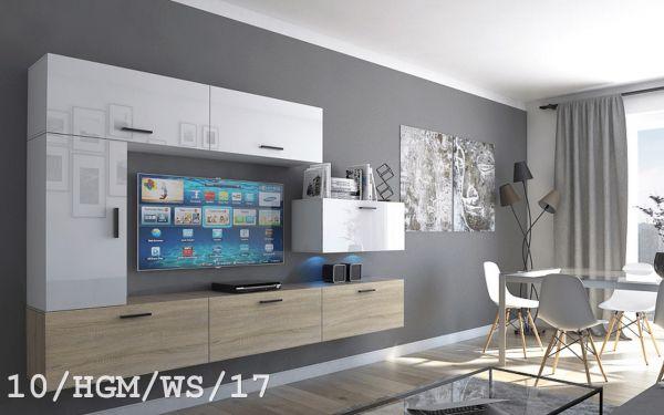 Mediawand Wohnwand 7 tlg - Bedox 3 -Sonoma matt- Weiss HGL Nr.2 +LED