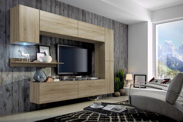 Mediawand Wohnwand 8 tlg - Konzept 6 -Sonoma Eiche matt