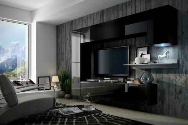 Mediawand Wohnwand 8 tlg - Konzept 6 - Schwarz HGL mit LED-Beleuchtung