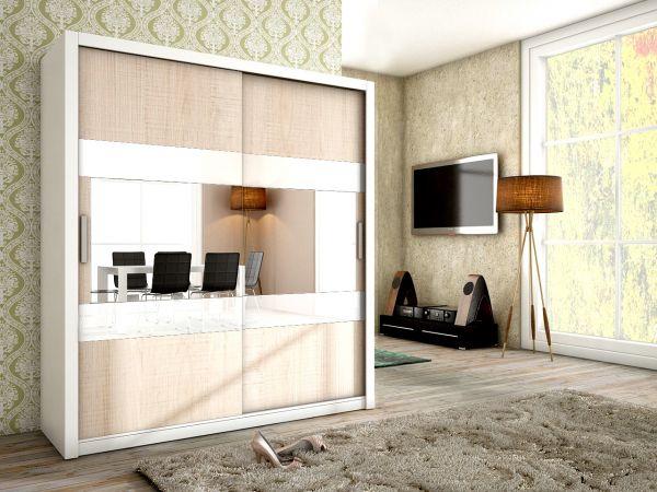 Schiebetürenschrank Schrank EMIL Weiss / Sonoma + Weissglas 180x200 cm