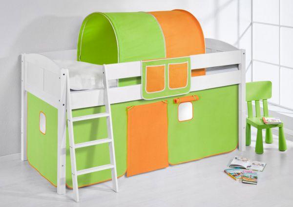 Spielbett Bett - LANDI - Grün Orange -Teilbar-Kiefer Weiss -mit Vorhang