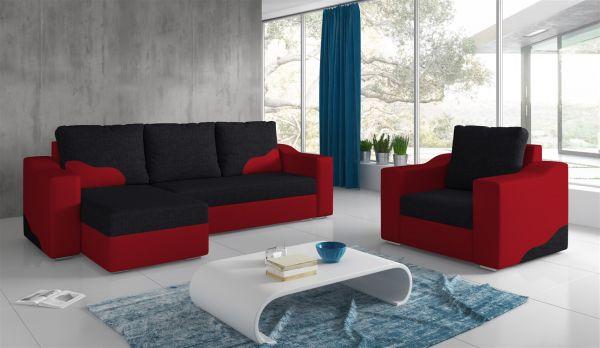 Ecksofa Set COLLIN Ottomane Links + Sessel Rot / Schwarz
