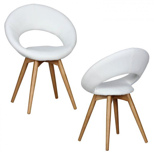Esszimmerstühle Stühle Vierfußstuhl 2er-Set VIGO Weiss / Rubberwood