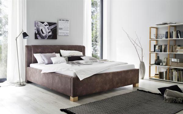 Polsterbett Bett Doppelbett - ROM -140x200 cm Stoffbezug Vintage Braun