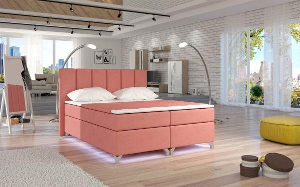 Boxspringbett Schlafzimmerbett PARMA Stoff Apricot 160x200cm
