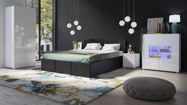 Schlafzimmer Komplett Set 5 tlg LABRI Schwarz- Weiss Hochglanz ...