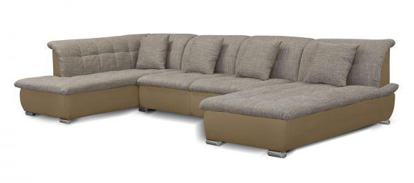 Couchgarnitur NICOLE ohne Schlaffunktion Ottomane Rechts Sand/Cappuccino